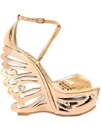 Le Silla 150mm Python Embossed Butterfly Wedge - Lyst