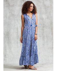 Poupette - Long Clara Dress Blue Fanciful - Lyst