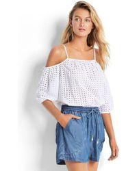 Seafolly - Broderie Cold Shoulder Top - Lyst