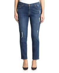James Jeans Distressed Cigarette Jeans - Lyst