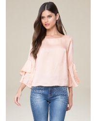 Bebe - Tiered Ruffle Sleeve Top - Lyst