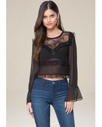 Bebe - Tiered Ruffle Top - Lyst