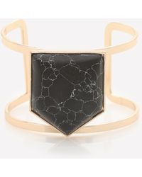 Bebe - Black Geo Stone Cutout Cuff - Lyst
