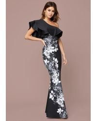 Bebe - One Shoulder Ruffle Gown - Lyst