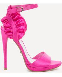 Bebe - Elle Satin Ruffle Sandals - Lyst