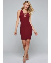 Bebe - Taria Lace Up Dress - Lyst