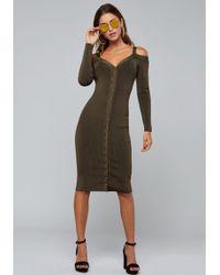 Bebe - Ribbed Sweater Midi Dress - Lyst