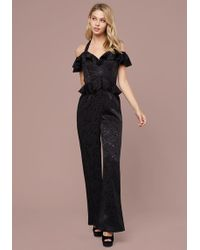 a076d39794cb Bebe Sam Off Shoulder Jumpsuit in Blue - Lyst