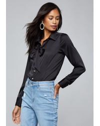 Bebe - Cameo Bow Blouse - Lyst