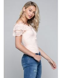 Bebe - Lace Ruffle Top - Lyst