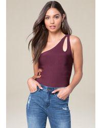 Bebe | Knit One Shoulder Bodysuit | Lyst