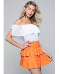 Bebe - Sheer Stripe Bodysuit - Lyst