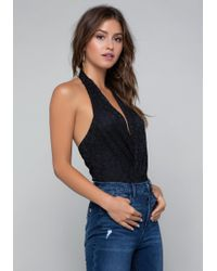 Bebe - Lace Wrap Bodysuit - Lyst