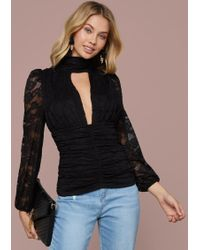 Bebe - Ruched Lace Cutout Top - Lyst