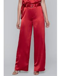 Bebe - Satin Paper Bag Waist Trousers - Lyst