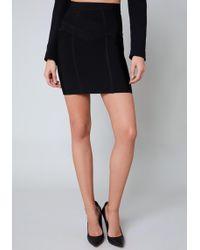 Bebe - Micah Mesh Inset Skirt - Lyst