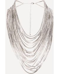 Bebe - Glam Silver Strand Necklace - Lyst