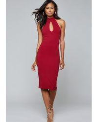 Bebe - Strappy Back Midi Dress - Lyst