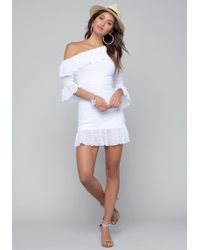 Bebe - Sheer Stripe Dress - Lyst