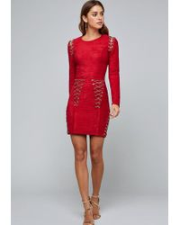 Lyst - Bebe Satin Sweetheart Dress in Red a1277db2a