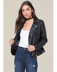 Bebe - Faux Leather Zip Jacket - Lyst