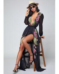 Bebe - Print Slit Shorts Gown - Lyst