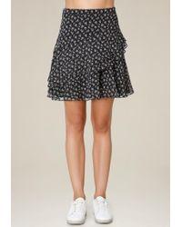 Bebe - Print Ruffled A-line Skirt - Lyst