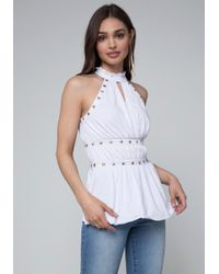 Bebe - Studded Jersey Top - Lyst