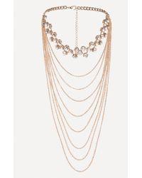 Bebe - Draped Chain Crystal Choker - Lyst