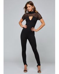 Bebe - Mesh Contrast Knit Catsuit - Lyst