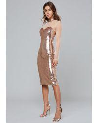 Bebe - Rose Gold Sequin Midi Dress - Lyst