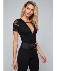 Bebe - Lily Lace Bodysuit - Lyst