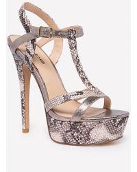 Bebe - Zena Faux Snake Sandals - Lyst