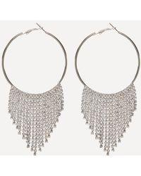 Bebe - Crystal Trim Hoop Earrings - Lyst