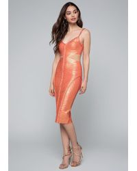 Bebe - Braided Foil Dress - Lyst