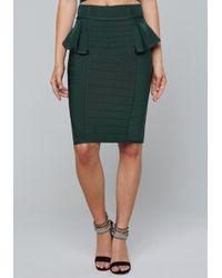 Bebe - Tara Peplum Bandage Skirt - Lyst