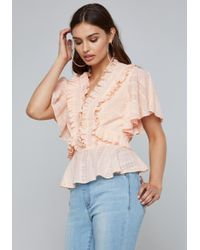 Bebe - Lace Up Detail Ruffled Top - Lyst