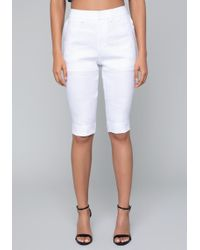 Bebe - Linen Bike Shorts - Lyst