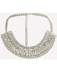 Bebe - Gray Crystal Chain Necklace - Lyst