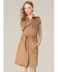 Bebe - Faux Suede Trench Coat - Lyst