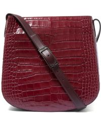 Vince - Medium Red Croc-embossed Leather Messenger Bag - Lyst