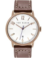 Ted Baker Mens Rose Gold Tone and Leather Watch - Lyst