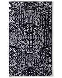 Emporio Armani Navy Logo Beach Towel - Lyst