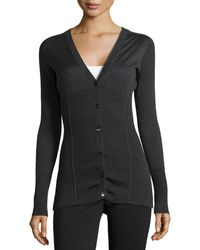 Philosophy di Alberta Ferretti Ribbed V-Neck Cardigan - Lyst