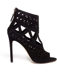 B Brian Atwood - Levens Laser-cut Open-toe Suede Caged Sandals - Lyst