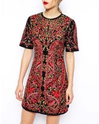Asos Premium Embroidered Shift Dress - Lyst
