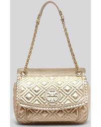 Tory Burch Shoulder Bag - Small Marion Quilted Metallic - Lyst