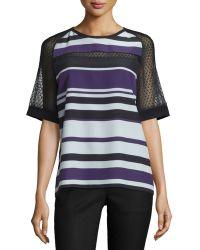 J. Mendel | Half-sleeve Striped Top W/mesh Inset | Lyst