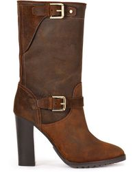Ralph Lauren Collection Oiled-suede Molly Boot - Lyst