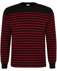 Saint Laurent Red Stripe Jumper - Lyst